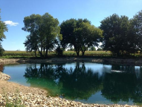 Dyed Pond with Aeration